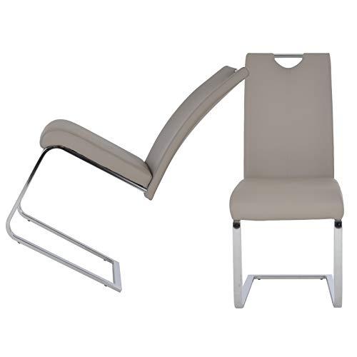 MACOShopde by MACO Möbel 2er Set Freischwinger aus Kunstleder in Cappuccino/beige – Esszimmerstühle mit verchromten Metallgestell und Griff