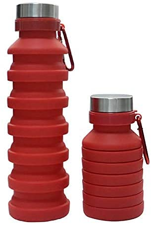 Baskety Collapsible Water Bottle, Reusable BPA Free Silicone Foldable Water Bottles for Travel Gym Camping Hiking, Portable Leak Proof Sports Water Bottle with Carabiner, 550ml (Red, Pack of 1)