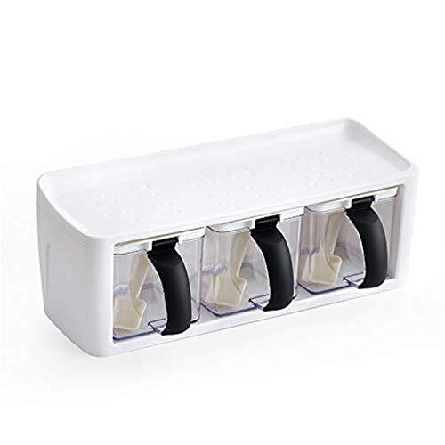 COOLSHOPY Condimento de Almacenamiento Cajas de Especias Botella Tarro con asa y Herramientas Cuchara de la Cocina de Almacenamiento de contenedores de Hierbas Spice Castor