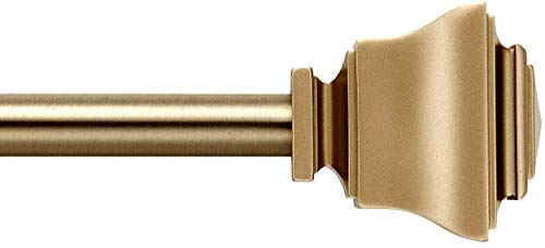 MODE Simplicity Single Curtain Rod Set with Square Finials - 32 to 90 in, Gold