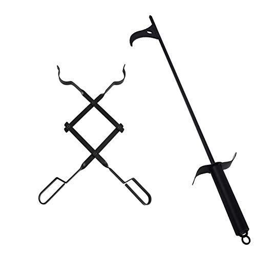 """bbq777 Fire Pit Tool Kits, 30"""" Fire Pit Poker and 26"""" Log Grabber Fireplace Tongs for Outdoor Campfire, Camping, Wood Stove, Black"""