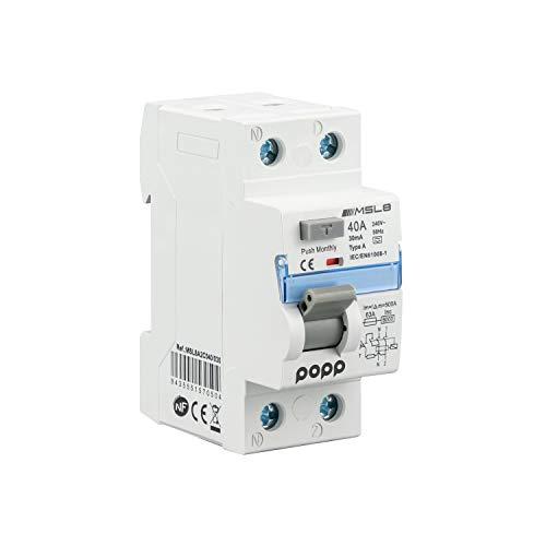 POPP® Electric Interruptor Diferencial RCCB Superinmunizado 2P 40A 30mA Clase A SI 6KA Industrial (1)
