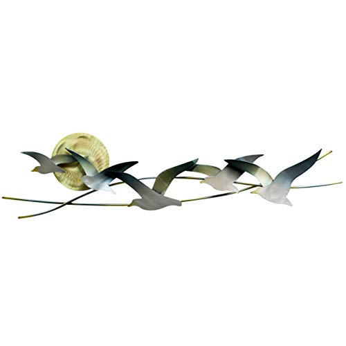 T.I. Design Seagulls with Sun Abstract Coastal Contemporary Metal Wall Decor