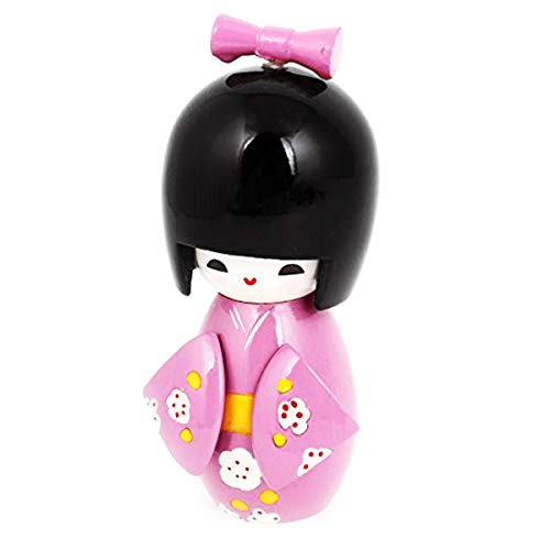 COMOK Pink Japanese Floral Kimono Sweet Smiling Girl Wooden Kokeshi Doll Toy for House & Office Decoration Handicraft Ornaments, 3.46' x 1.5'
