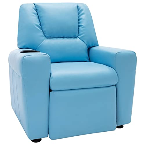 Festnjght Sillón Reclinable Tela Azul, Sillón Relax con Reposapiés, Sistema de Apertura Push, Compacto, Butaca Salón Reclinable hasta 160º