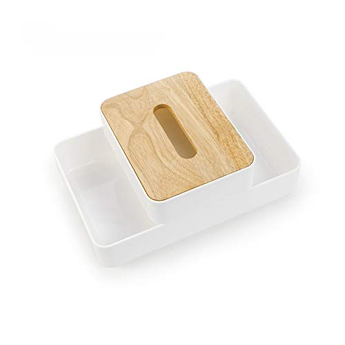 Xnuoyo Multifunktions-Taschentuchbox, 2-in-1-Aufbewahrungsbox für Kosmetika mit Großer Kapazität, Abnehmbarer Doppelschichtiger mobiler Tischschrank, Geeignet für Schminktische im Badezimmer