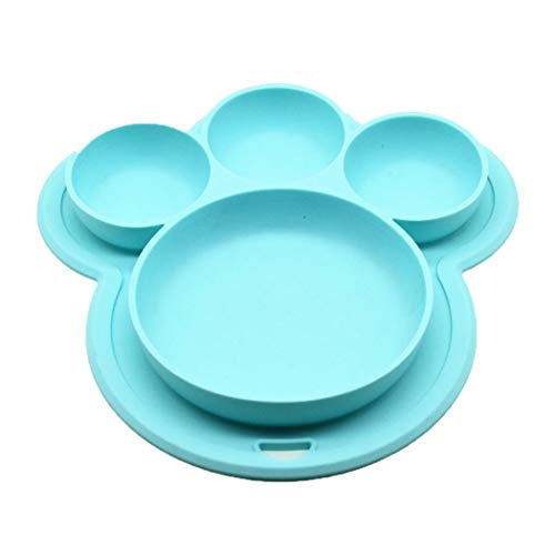 Fantiff - Vajilla de Silicona con Ventosa para niños, Silicona, Azul, 20.6 x 19.6 x 2.4cm/8.1 x 7.7 x 0.9inch