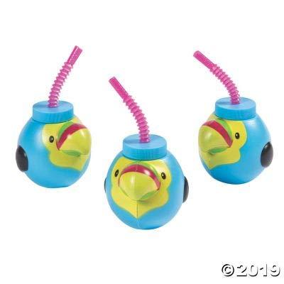 Best Bargain TOUCAN MOLDED CUPS W/LIDS - Party Supplies - 12 Pieces