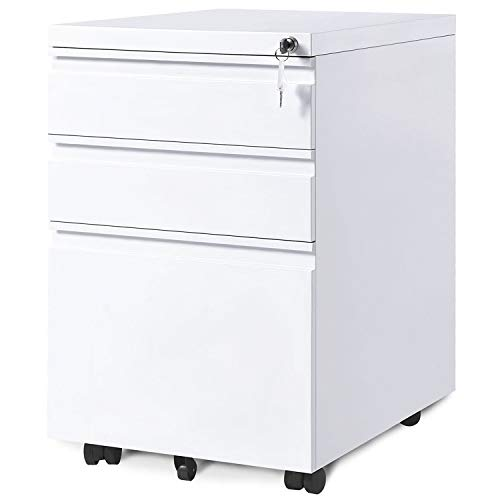 CATNON Mobile File Cabinet with Lock,Office Lock Design File Cabinet,Metal Filing Cabinet Vertical Storage Unit - 3 Drawer (White)