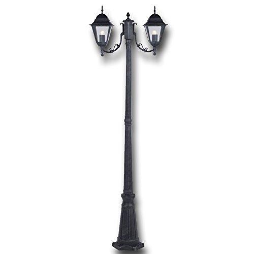 LAMPIONE GRIGIO GHISA DA GIARDINO CON 2 LUCI CM 200 H PER ARREDO ESTERNO