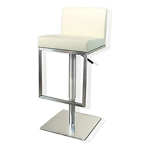 QLIGAH - Silla de pub taburetes altos giratorios de 360 grados con respaldo y reposapiés, silla de bar de acero inoxidable