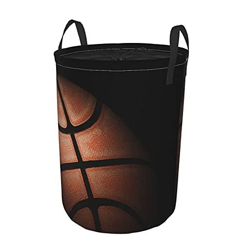 Cesto de lavandería redondo Grande con asas,cerca de baloncesto antiguo sobre fondo oscuro,cesto de lavandería plegable impermeable con cordón,21.6'X16.5'