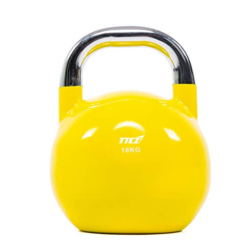 POWERT Competition Kettlebell|Premium Quality Coated Steel|Ergonomic Design|Great for Weight Lifting Workout & Core Strength Training& Muscle Building|Color Coded (E-16KG)