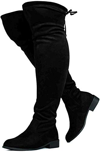 RF ROOM OF FASHION Wide Calf Stretchy Over The Knee Riding Boots (Medium Width) Black SU (8.5)