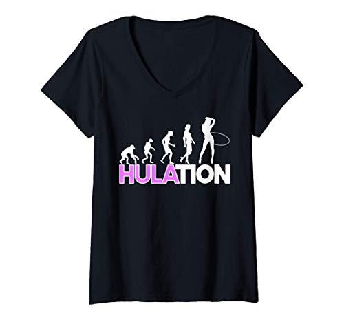 Damen Damen Hulation Hula Hoop Outfit Fitness Hullern Geschenk T-Shirt mit V-Ausschnitt
