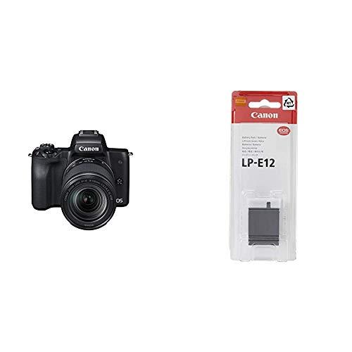Canon EOS M50 spiegellos Systemkamera 241 MP dreh und schwenkbares 75 cm 3 Zoll Display mit Objektiv EF M 18 150mm is STM schwarz Akku LP E12 875mAh fur EOS M