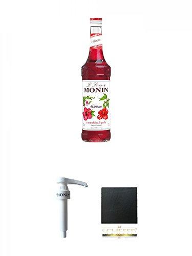 Monin Hibiscus Sirup 0,7 Liter + Monin Dosier Pumpe für 0,7 & 1,0 Literflasche + Schiefer Glasuntersetzer eckig ca. 9,5 cm Durchmesser
