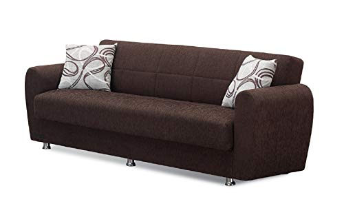 BEYAN Boston Collection Modern Convertible Folding Sofa Bed with Storage Space, Includes 2 Pillows, Dark Brown