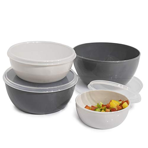 Cook with Color Plastic Mixing Bowls with Lids - 8 Piece Nesting Bowls Set includes 4 Prep Bowls and 4 Lids (Blue Ombre)