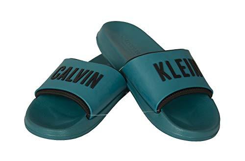 Calvin Klein Männer Slipper Swimwear CK Artikel KM0KM00633 Slide, M0B Seans Teal, EUR 41/42 - UK 7/8 - USA 8/9 - cm 26/26.5