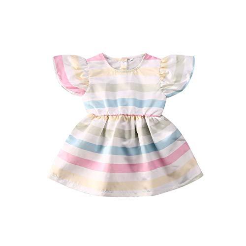 Vestido de princesa, a rayas, con volantes, mangas y rayas, para niñas y bebés recién nacidos,  Multicolor, 3T / 4T