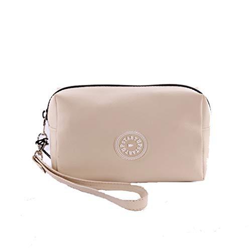Startup make-up tas voor dames van rubber, met logo, eenheidsmaat, kleur: crème