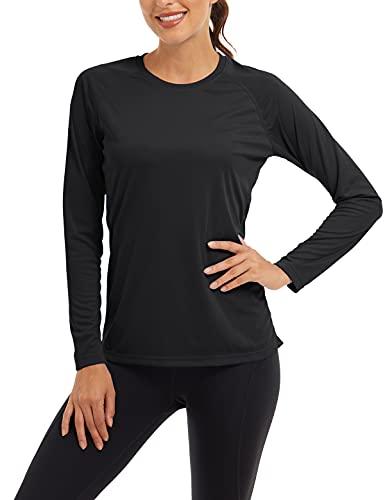 TACVASEN Sonnenschutz Shirt Damen Langarm Sportoberteil Outdoor Wandern T Shirts Frau Sommer UPF 50 Hemd Angeln Rashguard Weiße Oberteil UV-Schutz T-Shirt Schwimmen Hemd Sport Shirt Schwarz