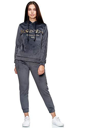 EGOMAXX Damen Velour Nicki Sportanzug Jogginganzug Yoga Anzug Kapuze Print Pocket Design, Farben:Grau, Größe:S/M