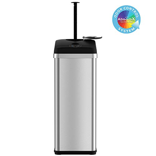 iTouchless 13 Gallon Stainless Steel Compactor Sensor Trash Can with Activated Carbon Deodorizer