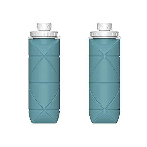 OMVOVSO Botella Plegable, Botella de Bebida, Botella de Agua Silicona Plegable, Botella de Bicicleta, Botella de Ahorro de Espacio Camping Fitness Senderismo, 600ml,Verde