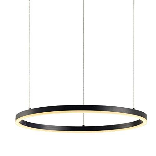 Ring LED Pendelleuchte Hängeleuchte 3000-6000K mit Fernbedienung Esstischlampe Wohnzimmerlampe Schwarz Ringleuchte Hängelampe Modern Einfaches Pendellampe Acryl Ringlampe, 80cm