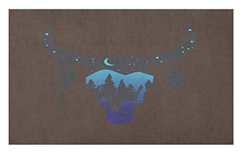 Ethnic Doormat, Cow Skull Silhouette Forest Sky Moon Landscape Feathers Bohemian Wild, Decorative Polyester Floor Mat with Non-Skid Backing, Umber Black and Pale Blue