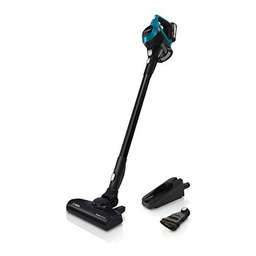 Bosch Akku-Staubsauger Unlimited Serie 6 BKS6111P, kabelloser Handstaubsauger, beutellos, Hygiene-Filter, hohe Saugleistung, freistehend, lange Laufzeit, Fugendüse, alle Bodenarten, blau