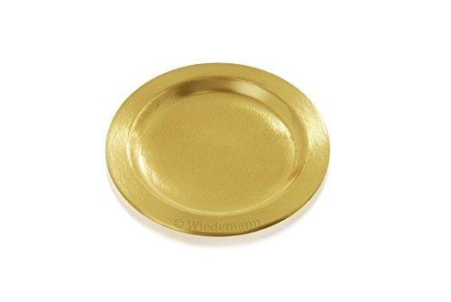 Kerzenteller, Dekoteller Messing Gold matt satiniert, Innen Ø 8 cm, Außen Ø 11 cm für Kerzen