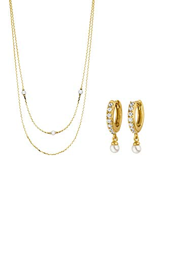 PAUL VALENTINE Jewellery set for women - Ariel Necklace and earrings in gold - 18ct gold plated - with high zirconia and pearls - jewellery present set for women