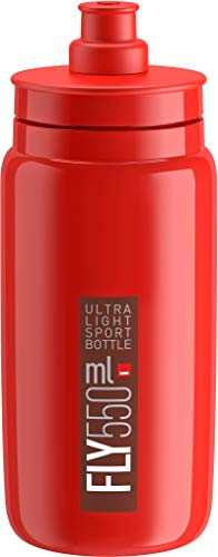 Elite Fly Lightweight Cycling Bottle - Red/Black, 550ml / Bidon Flask Vessel Canteen Water Juice Storage Drinking Drink Ultralight Bicycle Cycle Biking Bike Sport Gym Hydration Time Trail Triathlon