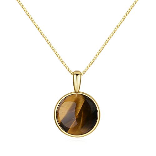 COAI Collana con Ciondolo Circolare in Occhio di Tigre Marrone, Collana Pendente da Donna in Argento 925 Placcato Oro