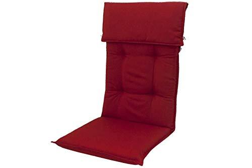 Doppler Hochlehner-Auflage aus Dralon in rot (Bordeaux), ca. 120x50 cm, Teflon-beschichtete Stuhl-Auflage, Stuhlkissen