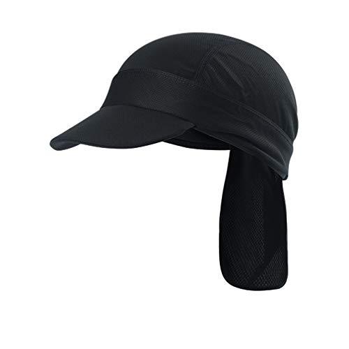 X-Labor Unisex Sonnenschutz Cap mit Schirm Atmungsaktiv Sommermütze Bandana Kopftuch Fahrrad Radsport Kopfbedeckung Sonnencap schwarz