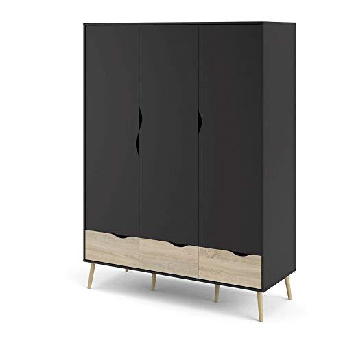 PKline Kleiderschrank Napoli Eiche Struktur Dekor mat schwarz Schlafzimmer Schrank