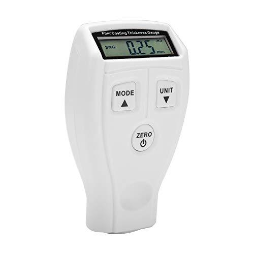 OKBY Malen Dickenmessgeräte - Tragbare Mini-LCD-Auto-Lackbeschichtung Tester Schichtdicken Digital-Detektor Mess Prüfgerät (Farbe : Weiß)
