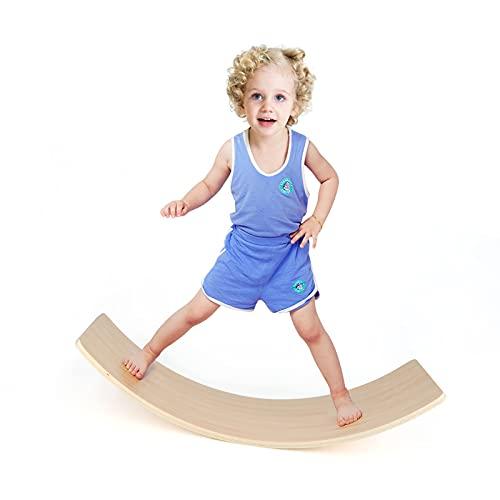 Qilay Wooden Balance Board, 33 Inch Kids Wobble Board Seesaw Toddler Preschool Learning Toy, Natural Wood Yoga Curvy Rocker Balance Board for Adult