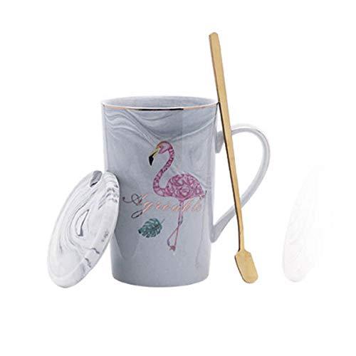 HUANGHHLL Taza De Cerámica Chapada En Oro Flamingo Milk Coffee Tea Mug con Cuchara Mango Hogar 55 Celsius Termostato De Calefacción Padoffice Mug-4_360Cm