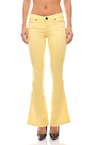 AJC Bootcut Jeans Hose Sommer-Hose Skinny Kurzgröße Damen Gelb, Größenauswahl:36 (18 Kurzgröße)