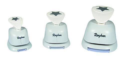Rayher 69182000 Motivstanzer-Set  Sterne, , Set 3 Stück, Motivgrößen 1,6 cm, 2,54 cm, 3,81 cm, geeignet für Papier/Karton bis 200g/m2