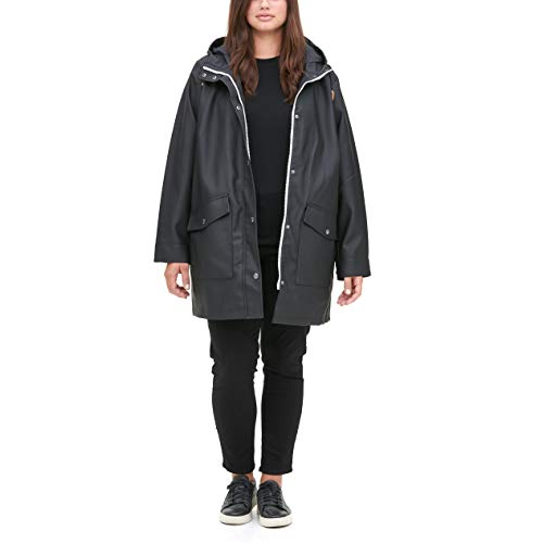 Levi's Damen Plus Size Rubberized PU Fishtail Rain Parka Regenmantel, schwarz, 3X