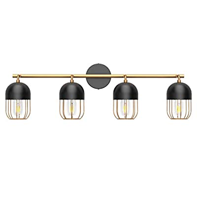 Ralbay Bathroom Vanity Light Fixtures 4 Lights Black Vanity Light Matte Black Paired with Bright Golden Open Cage Wall Light Edison Vintage Wall Light Fixture for Bathroom (Exclude Bulb)