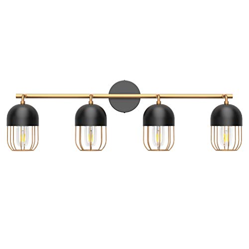 Klighten Lampada da Specchio, Specchio Armadio Lampada da Bagno, Lunghezza 83CM, Vintage Applique da Parete con 4 luci, Attacco E27, Lampadina non Inclusa