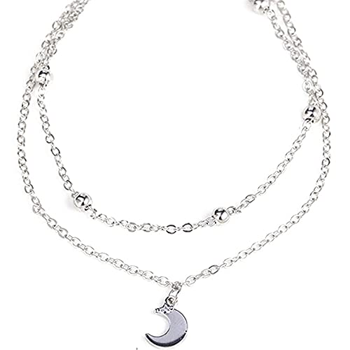 PASDD Boho Moon Double Anklet Silver Beach Ankle Bracelet Chain Foot Jewelry for Women and Girls S925 Sterling Silver Adjustable Ankle,silver