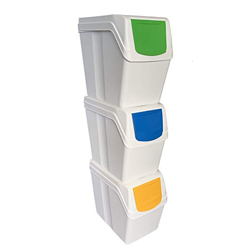 Prosperplast Juego de 3 cubos de reciclaje capacidad total 60 litros, apilable, compartimentos en color blanco, 3x20 Litros